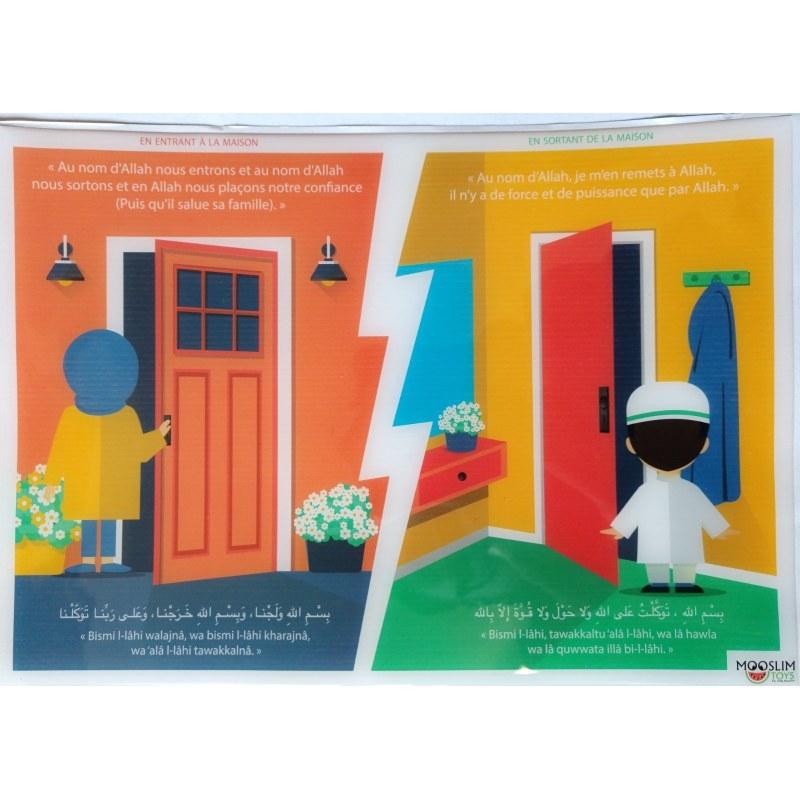 Autocollant (Sticker) - En entrant & sortant de la maison - Invocations du Quotidien - Mooslim Toys