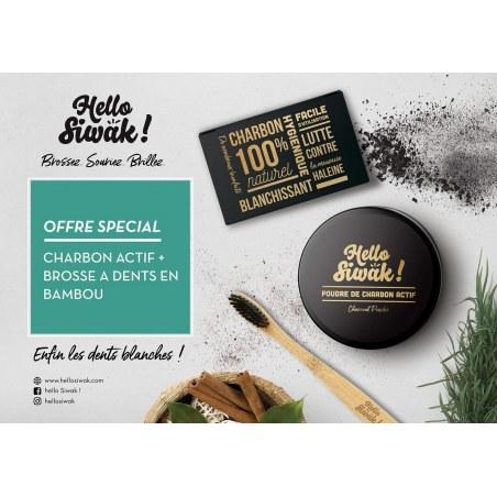Pack Charbon Actif de Noix de Coco naturel + Brosse à dents en bambou - Hello Siwak