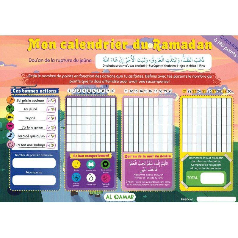 Mon Calendrier Fr.Mon Calendrier Du Mois De Ramadan Calendrier A 180 Points Al Qamar