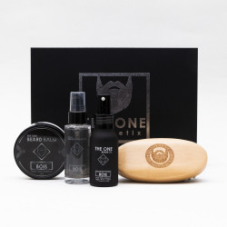 Coffret The Barber Kit Bois (Huile, Shampooing, Baume parfumé et Brosse à Barbe) - The One